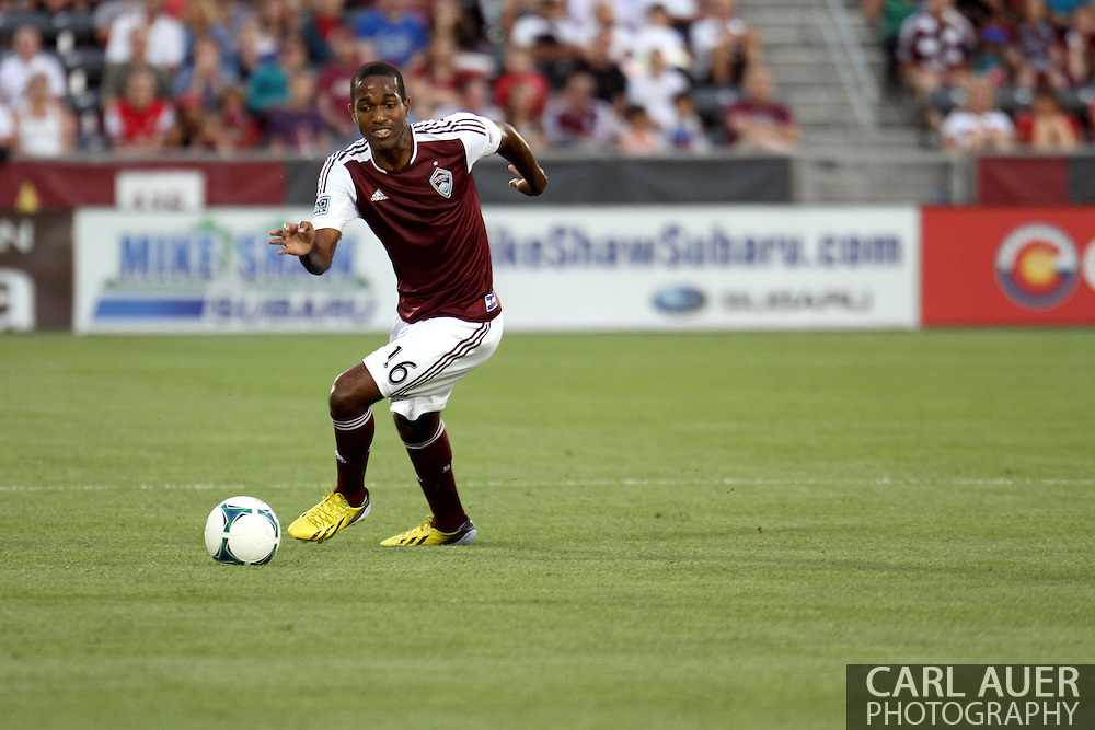 July 4th, 2013 - Colorado Rapids midfielder Atiba Harris (16) makes a turn with the ball as he attempts to start an attack in the first half of the Major League Soccer match between New York Red Bulls and the Colorado Rapids at Dick's Sporting Goods Park in Commerce City, CO