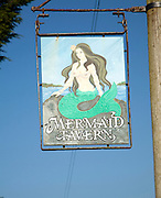 Pub sign for Mermaid tavern Island of Sark, Channel Islands, Great Britain