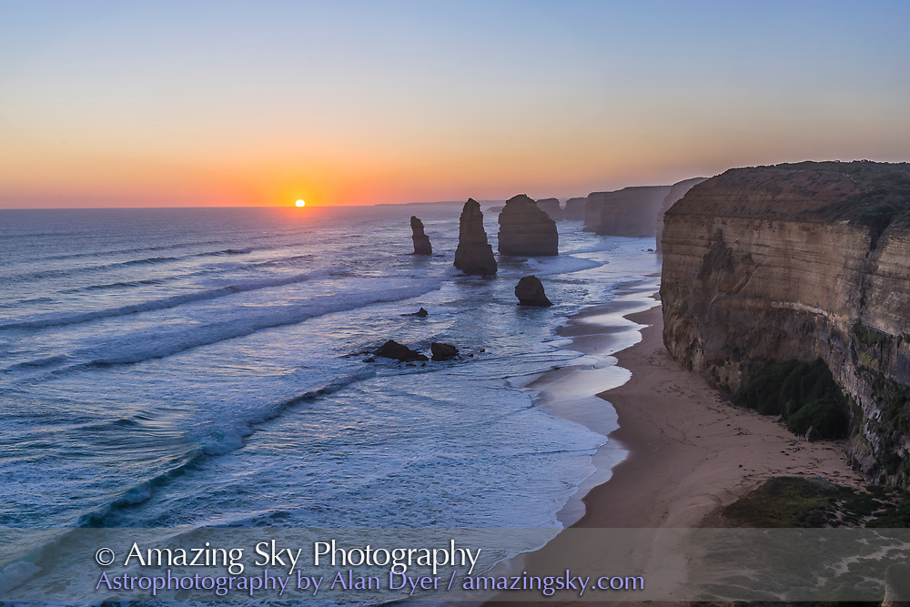 The setting Sun at the Twelve Apostles sea stacks and cliffs on the Great Ocean Road, on April 12, 2017. <br /> <br /> This is an HDR stack of 7 exposures from long to short to compress the dynamic range from bright Sun and dark foreground. This nicely demonstrates the Rule of Thirds framing and composition. Merged in Adobe Camera Raw.