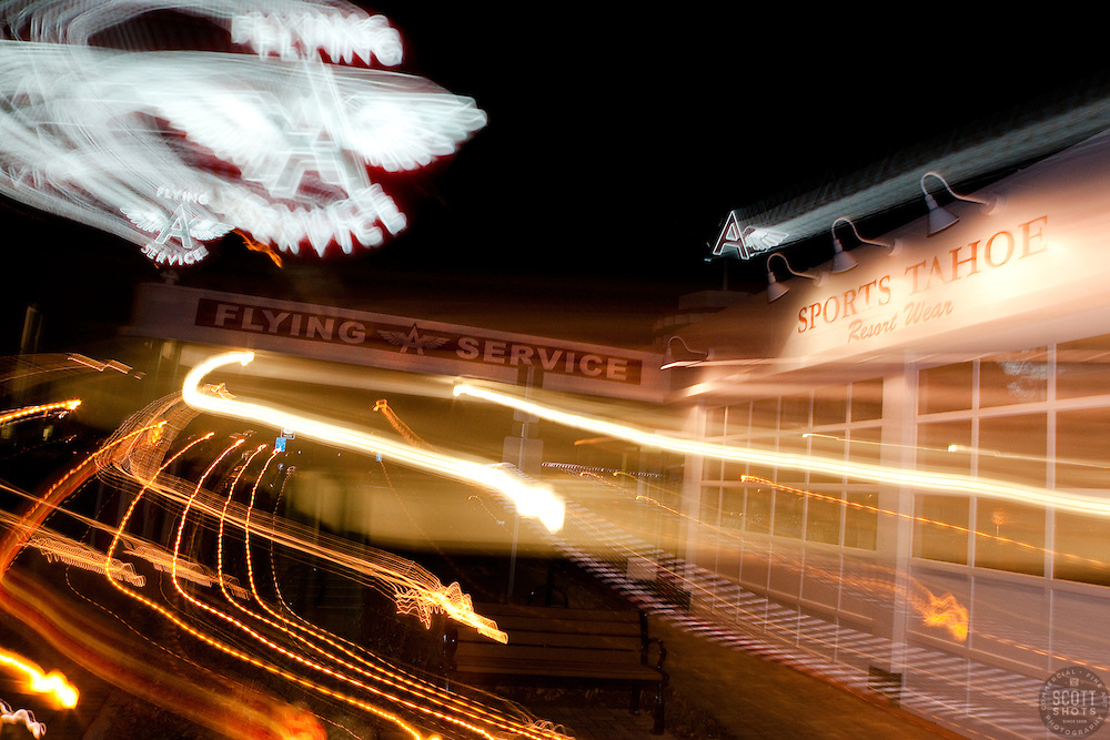 """""""Flying A Service, Truckee"""" - This old service station is located in Downtown Truckee, CA. The effect was achieved by zooming the lens during a long exposure."""