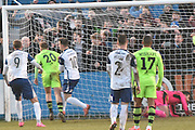 Barrow's Ross Hannah (10) scores 2-2 during the Vanarama National League match between Barrow and Forest Green Rovers at Holker Street, Barrow, United Kingdom on 28 January 2017. Photo by Mark Pollitt.