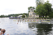 Henley, Great Britain.  Henley Royal Regatta. M8+, Grand Challenge Cup, Australian Institute of Sport 'A', AUS [Bucks], and Molesey Boat Club and Leander Boat Club [Berks], GBR, race past Temple Island, in their Semi-Final. Crew - Molesey Boat Club and Leander Club: Alex Partridge [bow], James FOAD, Cameron NICHOL, Nathaniel REILLY O'DONNELL, Mo SBIHI, Greg SEARLE, Tom RANSLEY, Dan RITCHIE [stroke], Phelan HILL [cox]. River Thames Henley Reach.  Royal Regatta. River Thames Henley Reach.  Saturday  02/07/2011  [Mandatory Credit  Intersport Images] . HRR