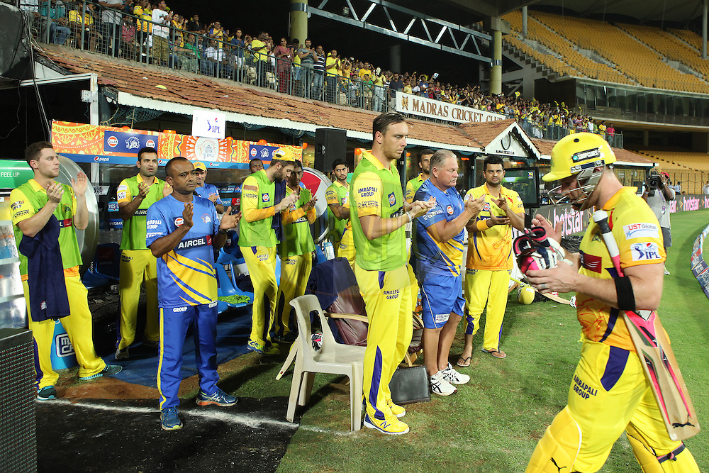CSK players at dugout congratulating McCullam(R) after his mervelous innings during match 47 of the Pepsi IPL 2015 (Indian Premier League) between The Chennai Superkings and The Rajasthan Royals held at the M. A. Chidambaram Stadium, Chennai Stadium in Chennai, India on the 10th May 2015.<br /> <br /> Photo by:  Saikat Das / SPORTZPICS / IPL