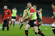 Jamie Roberts in action. Wales rugby team training at the Millennium stadium,  Cardiff in South Wales on Thursday 15th November 2012.  pic by Andrew Orchard, Andrew Orchard sports photography,