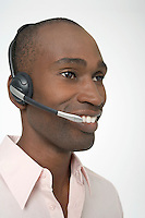 Man Wearing Telephone Headset