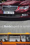 Riesige Werbung an einem Plattenbau fuer den neuen Skoda Superb in der Naehe der Skoda Autowerke im Zentrum von Mlada Boleslav. Mlada Boleslav liegt noerdlich von Prag und ist ungefaehr 60 Kilometer von der tschechischen Haupstadt entfernt. Skoda Auto besch&auml;ftigt in Tschechien 23.976 Mitarbeiter (Stand 2006), den Grossteil davon in der Zentrale in Mlada Boleslav. Damit sind mehr als 3/4 aller Erwerbst&auml;tigen der Stadt in dem Automobilkonzern t&auml;tig. <br /> <br />                                      Bigboard commercial at a panel house close to the Skoda factory in the city of Mlada Boleslav. The city is located north of Prague and about 60 km away from the Czech capital. Skoda Auto has about 23.976 employees (2006) in Czech Republic and a big part of them is working in Mlada Boleslav. 3/4 of the working population in Mlada Boleslav is working for the Skoda Auto company.