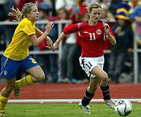 Fotball<br /> Landskamp J15/16 år<br /> Tidenes første landskamp for dette alderstrinnet<br /> Sverige v Norge 1-3<br /> Steungsund<br /> 11.10.2006<br /> Foto: Anders Hoven, Digitalsport<br /> <br /> Camilla Alfredsson - Sverige<br /> Kristine Hegland - Tertnes / Norge