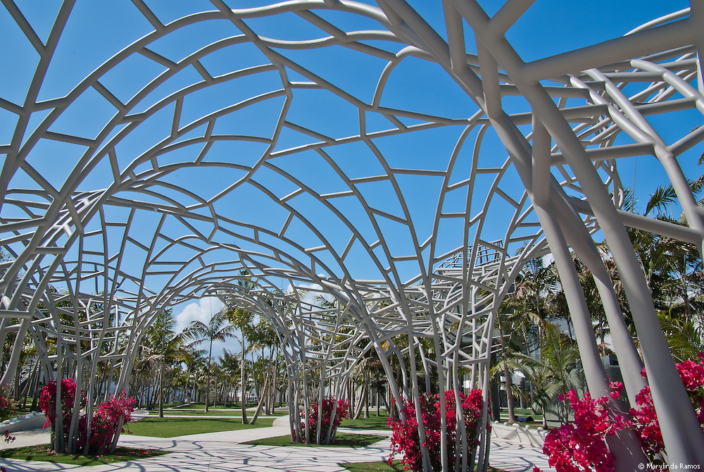 Arching flower sculptures create a whimsical entrance to the Soundscape in front of New World Center on South Beach.  Previously an open-air parking lot, the park is a welcome addition to Miami Beach's trendy, tropical, urban landscape.