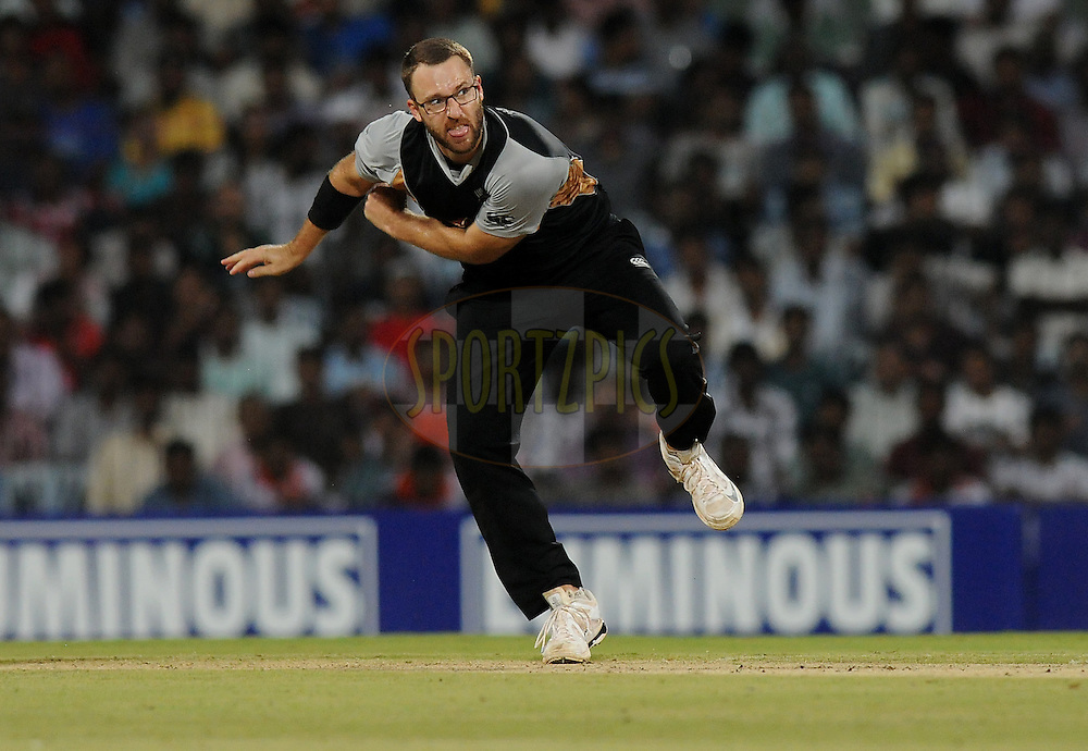 Daniel Vettori of New Zealand bowls during the second International T20 match between India and New Zealand held at the M. A. Chidambaram Stadium in Chennai on the 11th September 2012..Photo by Pal Pillai/BCCI/SPORTZPICS