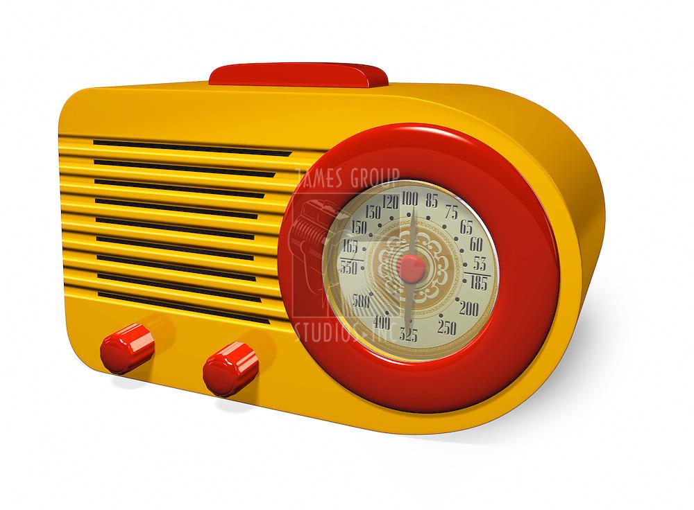 1930's Vintage Yellow and Red Retro Radio