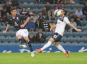 Dundee\s Declan Gallagher and Rangers' Nicky Clark - Dundee v Rangers - pre-season friendly to celebrate Dundee's 120th Aniversary at Dens Park<br /> <br />  - Pictures from David Young
