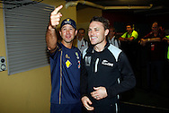 Ricky Ponting and Brendon McCullum share a joke before checking out the weather conditions at the Gabba. 5th ODI cricket match between the New Zealand Black Caps and Australia at the Gabba, Friday 13 February 2009 Brisbane, Australia. Photo: Andrew Cornaga/PHOTOSPORT