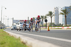 Joëlle Numainville leads Cervélo Bigla onto The Pearl on their way to a third place finish at the 40 km Women's Team Time Trial, UCI Road World Championships 2016 on 9th October 2016 in Doha, Qatar. (Photo by Sean Robinson/Velofocus).