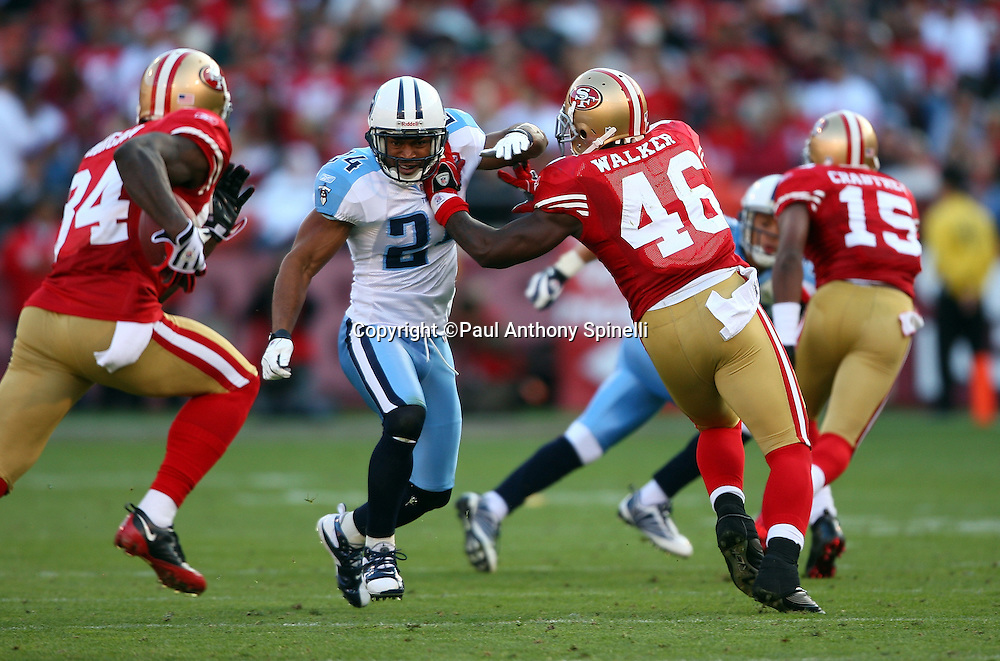 San Francisco 49ers tight end Delanie Walker (46) blocks Tennessee Titans safety Chris Hope (24) on a running play during the NFL football game against the Tennessee Titans, November 8, 2009 in San Francisco, California. The Titans won the game 34-27. (©Paul Anthony Spinelli)