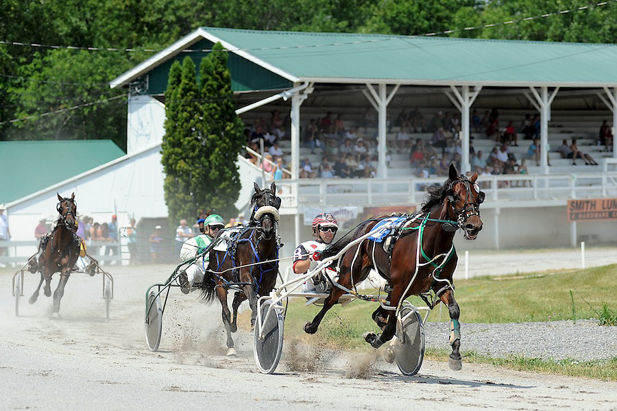 Driver David Russo and No Butts About It leads the pack through the first turn during the Two Year Old Pace race at the Hemlock Fair on Tuesday as the fair kicked off it's first day of activities