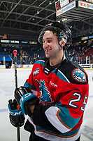 KELOWNA, BC - NOVEMBER 1:  Kobe Mohr #25 of the Kelowna Rockets heads for the dressing room after the win against the Prince George Cougars at Prospera Place on November 1, 2019 in Kelowna, Canada. (Photo by Marissa Baecker/Shoot the Breeze)