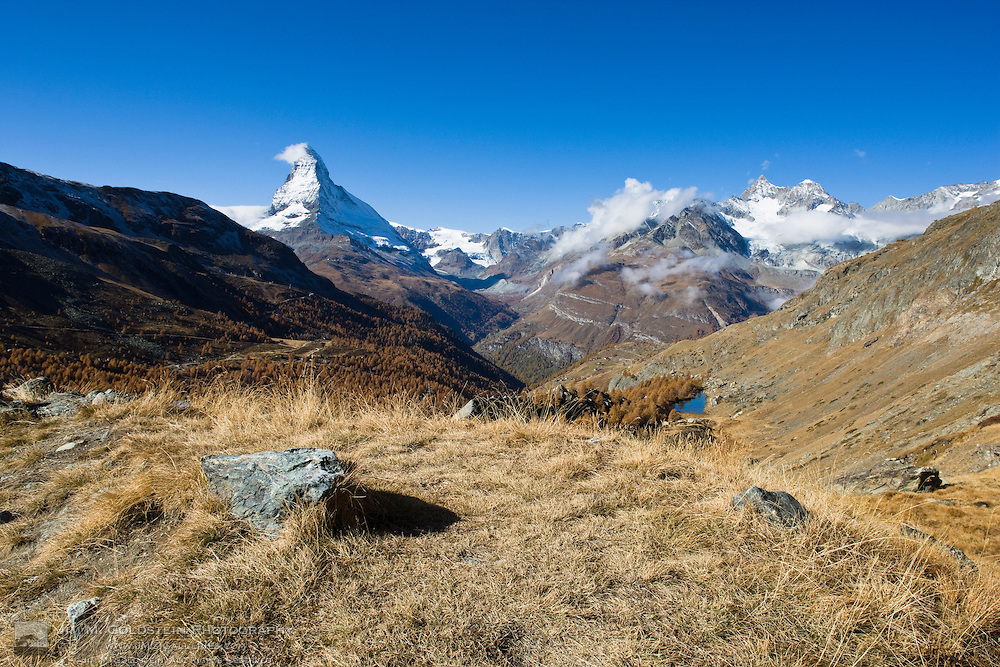 View of the Swiss Alps including the Matterhorn above Lake Grindjesee and the Mattertal (Matterhorn valley)