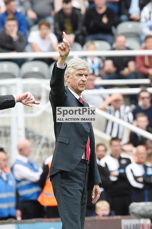 Arsenal Wenger in the Newcastle United v Arsenal Barclays Premier League match at St James' Park Newcastle 09 August 2015<br /> <br /> (c) Greg Macvean / SportPix.org.uk