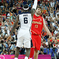 12 August 2012: Spain Marc Gasol looks dejected as LeBron James made a three points jumpshot during 107-100 Team USA victory over Team Spain, during the men's Gold Medal Game, at the North Greenwich Arena, in London, Great Britain.