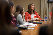 Holly Seckigner talks about how her experience at Ohio University has transitioned her into her current job, during the Ohio Women in Business event.  Photo by Ohio University / Jonathan Adams