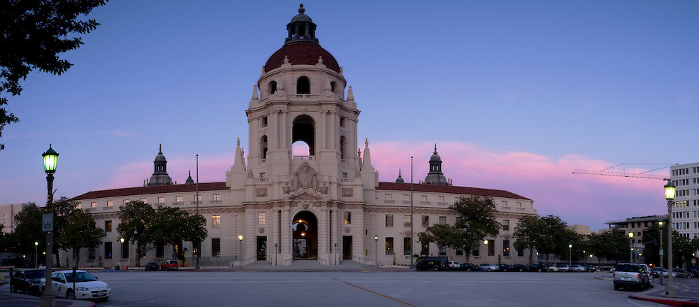 City Hall at Dusk Panoramic, Pasadena, California