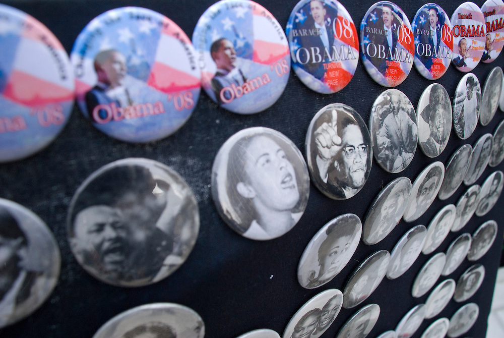New York  Manhattan Columbus Circle Barack Obama Rally..Fotos © Stefan Falke. Clinton / Obama Kandidatenwahl der Demokraten in den USA.New York Primary 2008