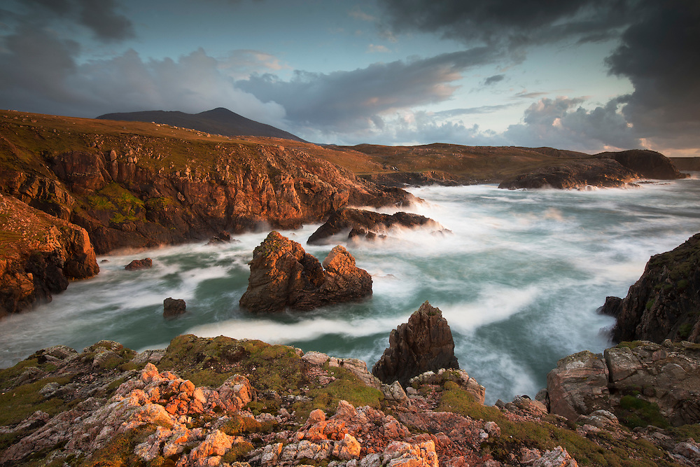 Evening light over west coast of Lewis, Outer Hebrides, Scotland.