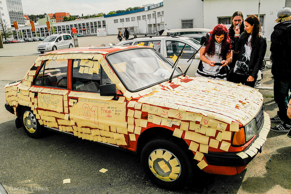 Car with sticky notes at animefest 2015, Brno, Czech Republic.