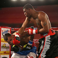 Larry Pryor (R) catches Radivvoje Kalajdzic with a right cross during the Telemundo Boxeo boxing match at the A La Carte Pavilion on Friday,  March 13, 2015 in Tampa, Florida.  Kalajdzic  won the bout after the referee stopped the fight. (AP Photo/Alex Menendez)