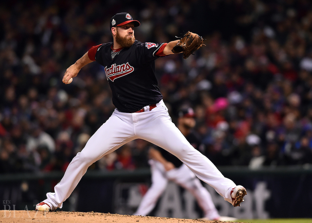 Oct 26, 2016; Cleveland, OH, USA; Cleveland Indians relief pitcher Zach McAllister throws a pitch against the Chicago Cubs in the fourth inning in game two of the 2016 World Series at Progressive Field. Mandatory Credit: Ken Blaze-USA TODAY Sports