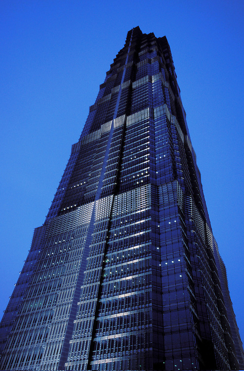The Jin Mao Tower (420 m., 88 floors), in the Pudong area of Shanghai, is the 5th tallest skyscraper in China and the 10th in the world. It hosts the Hyatt Hotel from floors 53 to 87. The view from the top is amazing, especially at sunset time.