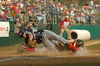 Jodi Miller.Lubbock Western All-Star pitcher Zane Ancell (22) managed to hold onto the ball during a play at home plate. Southeasts Keaton Allen (11) was called out at the plate. Ancell was taken from the field to a local hospital for X-Rays on his left leg.
