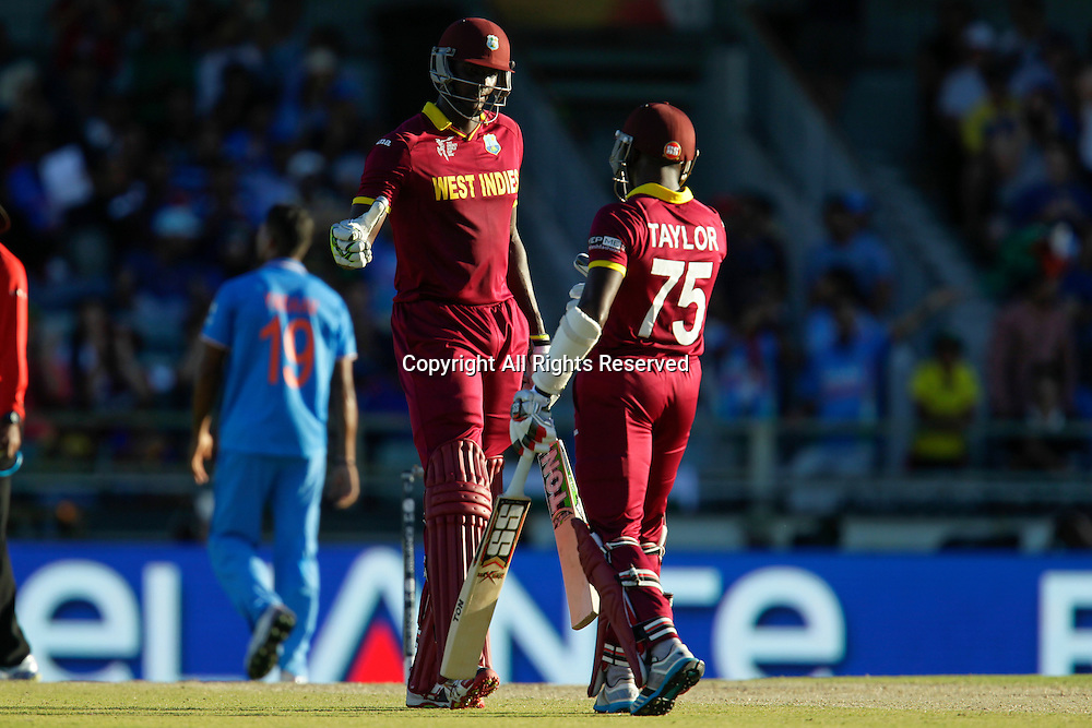 06.03.2015. Perth, Australia. ICC Cricket World Cup. India versus West Indies. Jason Holder celebrates his 50 with Jerome Taylor.