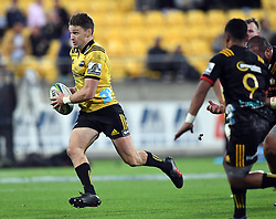 Hurricanes Beauden Barrett against the Chiefs in the Super Rugby match at Westpac Stadium, Napier, New Zealand, Friday, April 13, 2018. Credit:SNPA / Ross Setford
