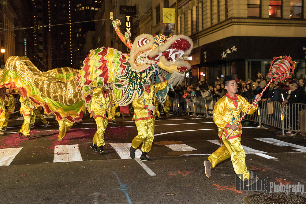 San Francisco, California. 24th February, 2018. Performers during the 2018 Chinese New Year Parade in San Francisco, USA. The San Francisco Chinese New Year Festival and Parade is the oldest and largest event of its kind outside of Asia, and the largest Asian cultural event in North America. Credit: Tim Fleming/Alamy Live News