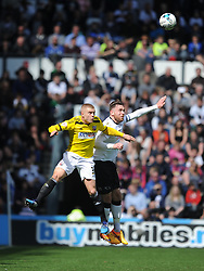 Brentford Jake Bidwell battles with Derby Richard Keogh, Derby County v Brentford, Sy Bet Championship, IPro Stadium, Saturday 11th April 2015. Score 1-1,  (Bent 92) (Pritchard 28)<br /> Att 30,050