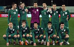 Slovenian national team (first eleven) posing to photographers before the UEFA Friendly match between national teams of Slovenia and Denmark at the Stadium on February 6, 2008 in Nova Gorica, Slovenia. Slovenia lost 2:1. First row (from left): Brecko, Birsa, Kirm, Ilic, Jukan. Second row: Zlogar, Novakovic, Handanovic S., Cesar, Sisic, Brecko. (Photo by Vid Ponikvar / Sportal Images).