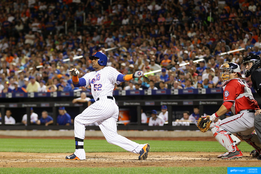 Yoenis Cespedes, New York Mets, batting during the New York Mets Vs Washington Nationals. MLB regular season baseball game at Citi Field, Queens, New York. USA. 1st August 2015. Photo Tim Clayton
