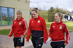 CARDIFF, WALES - Thursday, April 4, 2019: Wales' Gemma Evans (L), goalkeeper Laura O'Sullivan (C) an Cori Williams (R) during a pre-match team walk at the Vale Resort ahead of an International Friendly match between Wales and Czech Republic at Rodney Parade. (Pic by David Rawcliffe/Propaganda)