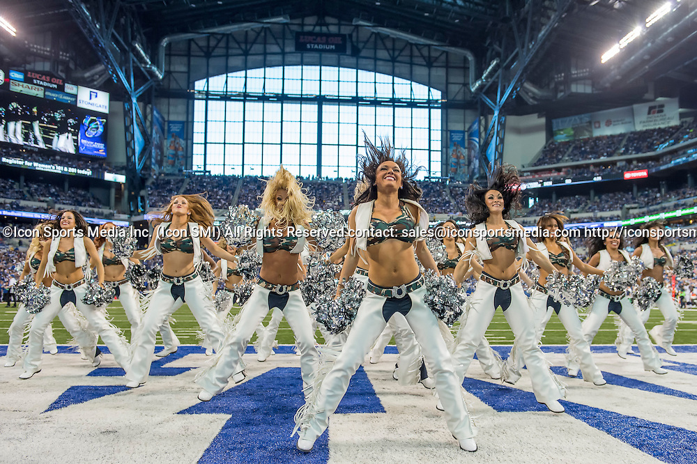 November 10, 2013:  Indianapolis Colts cheerleaders perform in action during a football game between the Indianapolis Colts and the St. Louis Rams at Lucas Oil Stadium in Indianapolis, IN.