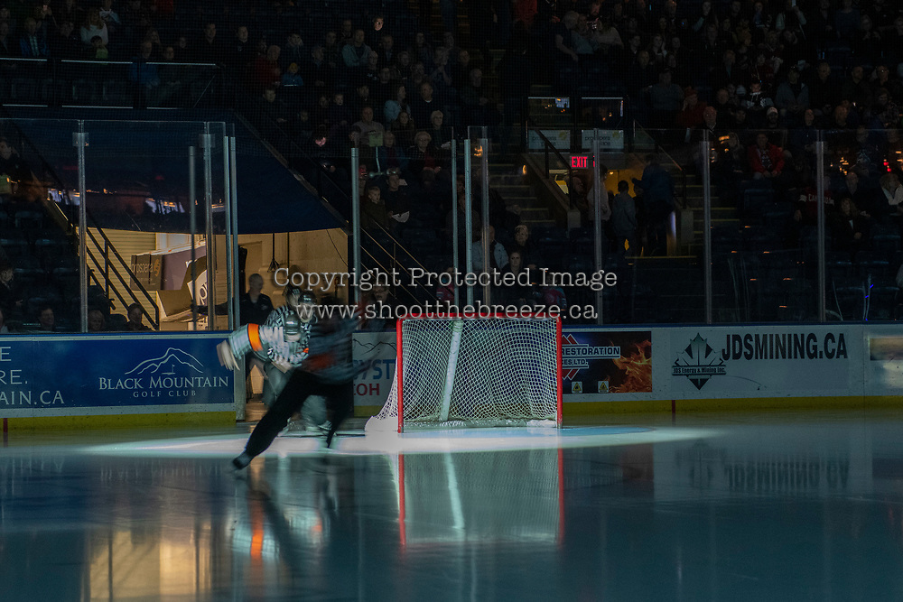 KELOWNA, CANADA - DECEMBER 29: Referees Bryan Bourdon and Troy Paterson enter the ice at the Kelowna Rockets against the Kamloops Blazers on December 29, 2018 at Prospera Place in Kelowna, British Columbia, Canada.  (Photo by Marissa Baecker/Shoot the Breeze)