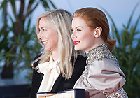 Emily Beecham, winner of the Best Actress award for the film Little Joe with Director Jessica Hausner (left) at the Palme D'Or Award photo call at the 72nd Cannes Film Festival, Saturday 25th May 2019, Cannes, France. Photo credit: Doreen Kennedy