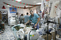 injured Soldiers and medics in Iraq hospital