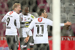 12.12.2015, Generali Arena, Wien, AUT, 1. FBL, FK Austria Wien vs Cashpoint SCR Altach, 20. Runde, im Bild Torjubel Martin Harrer (Cashpoint SCR Altach), Louis Clement Ngwat Mahop (Cashpoint SCR Altach) und Felix Roth (Cashpoint SCR Altach) // during Austrian Football Bundesliga Match, 20th Round, between FK Austria Vienna and Cashpoint SCR Altach at the Generali Arena, Vienna, Austria on 2015/12/12. EXPA Pictures © 2015, PhotoCredit: EXPA/ Thomas Haumer