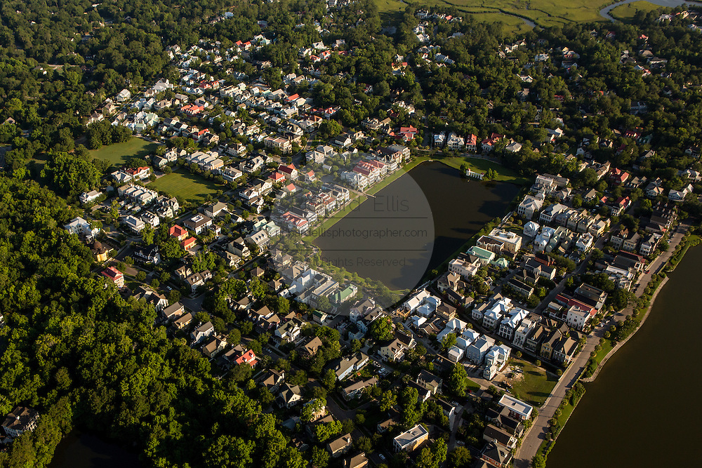 Aerial view of the the master planned community of I'on in Mt Pleasant, SC