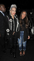Rita Ora and Chloe Green arriving at The Dorchester Hotel after dining at the Novikov restaurant in Mayfair, London, UK. 02/04/2014<br />BYLINE MUST READ : GOTCHAIMAGES.COM<br /><br />Copyright by © Gotcha Images Ltd. All rights reserved.<br />Usage of this image is conditional upon the acceptance <br />of Gotcha Images Ltd, terms and conditions available at<br />www.gotchaimages.com