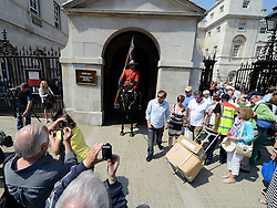 © Licensed to London News Pictures. 23/05/2012. London, UK Constable Davis Tsui in position on Whitehall. Canadian Mounties Guard Her Majesty the Queen at Horse Guards Parade on Whitehall in Westminster. They will guard on all day and will be the first non-British force to guard the Queen. Photo credit : Stephen Simpson/LNP