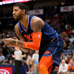 Feb 14, 2019; New Orleans, LA, USA; Oklahoma City Thunder forward Paul George (13) reacts after dunking against the New Orleans Pelicans during the second quarter at the Smoothie King Center. Mandatory Credit: Derick E. Hingle-USA TODAY Sports