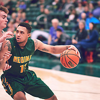 4th year guard, Myles Hamilton (11) of the Regina Cougars during the Men's Basketball Home Game on Sat Dec 01 at Centre for Kinesiology,Health and Sport. Credit: Arthur Ward/Arthur Images