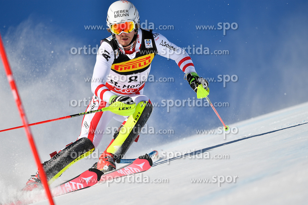19.02.2017, St. Moritz, SUI, FIS Weltmeisterschaften Ski Alpin, St. Moritz 2017, Slalom, Herren, 1. Lauf, im Bild Manuel Feller (AUT) // Manuel Feller of Austria in action during his 1st run of men's Slalom of the FIS Ski World Championships 2017. St. Moritz, Switzerland on 2017/02/19. EXPA Pictures &copy; 2017, PhotoCredit: EXPA/ Nisse Schmidt<br /> <br /> *****ATTENTION - OUT of SWE*****